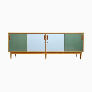 Belgian Sideboard in Quadrat Two-Tone Doors Blue and Green from Van den Berghe-Pauvers, 1958