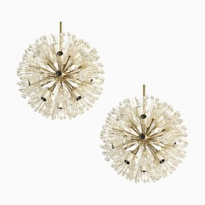 Sputnik Flower Chandeliers by Emil Stejnar for Rupert Nikoll, 1950s, Set of 2