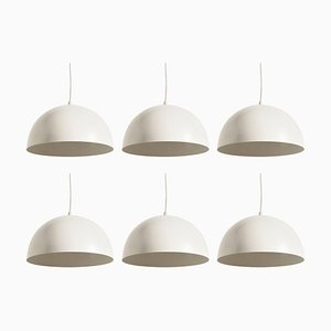 Dutch Space Age White Metal Pendant Lights from Raak, 1960s, Set of 6