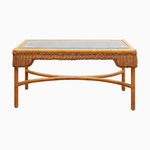 French Rectangular Rattan Coffee Table, 1970s