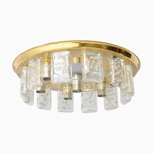Iced Glass and Brass Flush Mount Light by Doria, 1970s