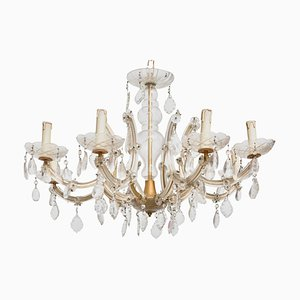 Hollywood Regency Crystal 8-Light Chandelier, 1920s