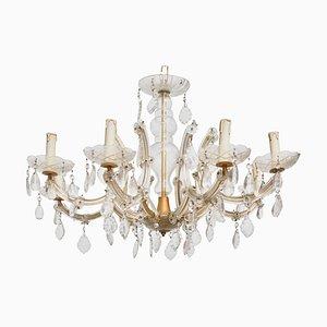 Hollywood Regency Crystal 8-Light Chandelier, 1920s