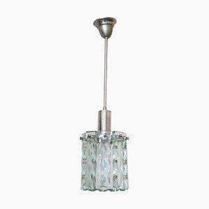 Hängelampe aus Kristallglas im Stil von Fontana Arte, 1960er