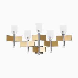 Italian Chrome and Brass Sconce from Sciolari, 1970s