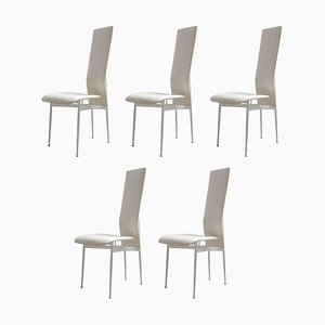 Vintage Italian Leather Dining Chairs by Giancarlo Vegni for Interna, 1982, Set of 5