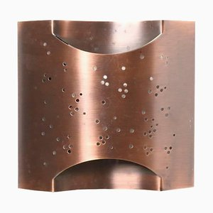 Handcrafted Curved Copper Perforated Starlite Sconce, 1980s