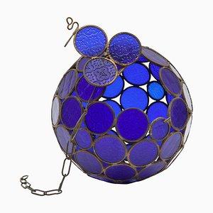 Antike Englische Viktorianische Kobaltblaue Laterne von AJ Beatty Glass Company, 1899