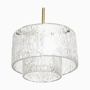 Round Textured Glass Chandelier from Kalmar, 1958