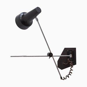 Schwarze Verstellbare Spotlight Wandlampe von JJM Hoogervorst für Anvia, 1960er