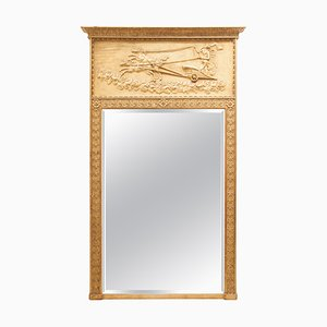 Cadre Miroir Overmantel Victorien Antique Doré avec Godess Eos et Horses Frise