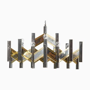 Modernist Brass & Chrome Zig Zag Chandelier by Gaetano Sciolari, 1967