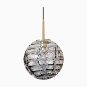 Patterned Smoke Toned Glass Globe Pendant Lamp from Doria Leuchten, 1960s