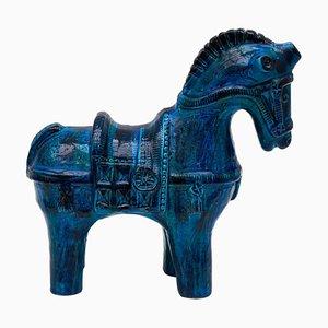 Glasiertes blaues Riminipferd von Aldo Rossi für Bitossi, 1960er