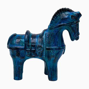 Glazed Rimini Blue Horse by Aldo Rossi for Bitossi, 1960s