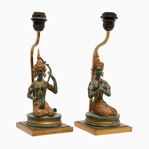 Französische Indische Göttinnen Tischlampen mit Gefliester Bronze, 1970er, 2er Set
