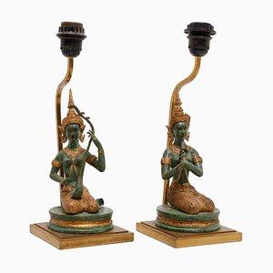 Lampes de Bureau Goddesses en Bronze Doré, France, 1970s, Set de 2