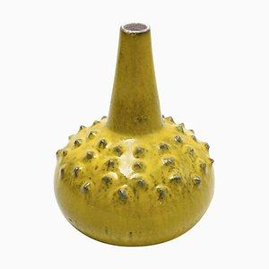 Große Glasierte Gelbe Vase von Rogier Vandeweghe für Perignem, 1969