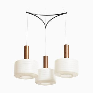 Glass & Brass 3-Light Cylinder Pendant Lamp with White Stripe Shades by Tapio Wirkkala, 1950s
