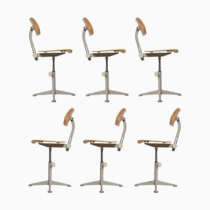 Dutch Architect Adjustable Revolving Chairs by Friso Kramer for Ahrend De Cirkel, 1963, Set of 6