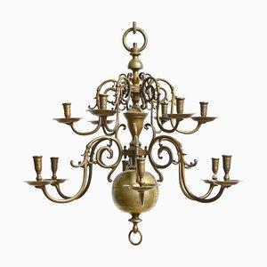 Antiker Niederländischer Barocker Zweistufiger Kronleuchter aus Bronze