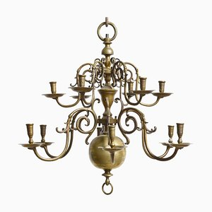Lustre à 2 Niveaux Baroque Antique en Bronze, Pays-Bas
