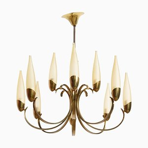 Large Modernist Brass Sputnik Chandelier in the Style of Stilnovo, 1956