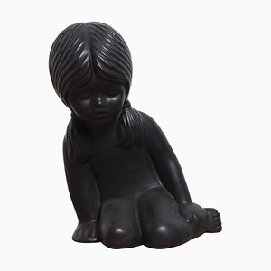 Keramikskulptur eines jungen Mädchens von Elie van Damme für Amphora, 1970er