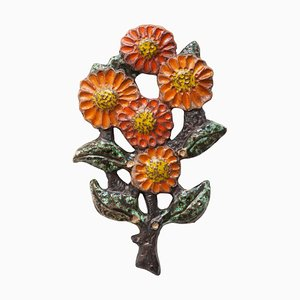 Belgian Wall Mounted Flower Decoration by Elisabeth Vandeweghe for Perignem, 1970s