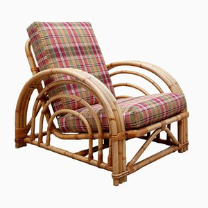 Mid-Century Modern Pretzel Bamboo Patio Lounge Chair in the Style of Paul Frankl, 1950s