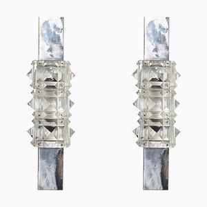 Facettierte Kristallglas Wandlampen von Kinkeldey, 1960er, 2er Set