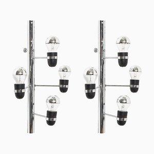 Italienische 4-Leuchten Wandlampen von Gino Sarfatti für Arteluce, 1960er, 2er Set