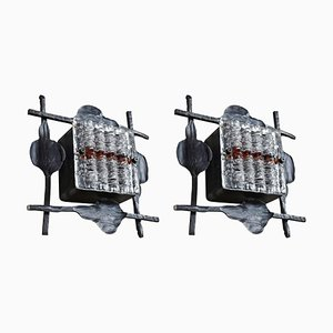 Brutalist Glass and Wrought Iron Lights by Tom Ahlström & Hans Ehrich, 1968, Set of 2