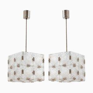 Gewölbter Kubus Kronleuchter aus Klarglas im Stile von Kalmar, 1960er, 2er Set