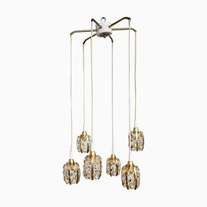 Brass & Gold-Plated Diamond Shaped Crystal Cascade Chandelier from Bakalowits & Söhne, 1970s