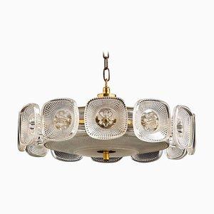 Lampe à Suspension Opaque Holophane Transparente en Verre Texturée par Carl Fagerlund pour Orrefors, Suède, 1960s