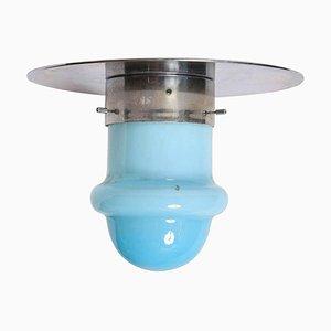 Italienische Deckenlampe aus Chrom & Opalglas, 1960er