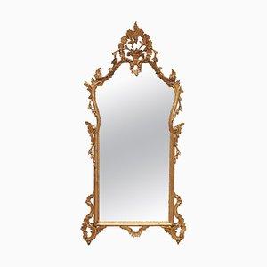 Französischer Rokoko Spiegel mit Vergoldetem Holzrahmen, 19. Jh