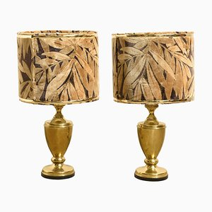 Brass Table Lamps with Shades in Velvet, 1970s, Set of 2