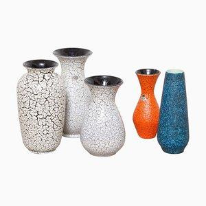 Modernist Jasba Craquelé Ceramic Vases, 1950s, Set of 5