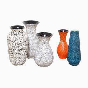 Modernistische Jasba Craquelé Keramikvasen, 1950er, 5er Set