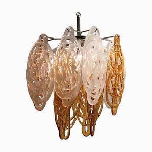Italian Brown and White Murano Glass Pendant Lamp, 1960s