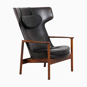 Large Danish Rosewood Wing Back Lounge Chair by Ib Kofod-Larsen, 1954