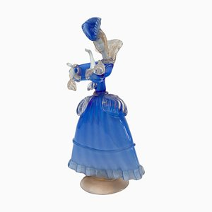 Italian Murano Blue & White Opal Art Glass Victorian Lady Sculpture, 1960s