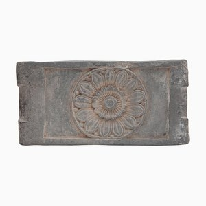 Antique Ancient Buddhist Stone Altar Tabletop with a Lotus Flower