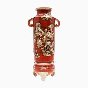 Antike Japanische Rote Vasen von Satsuma, 2er Set
