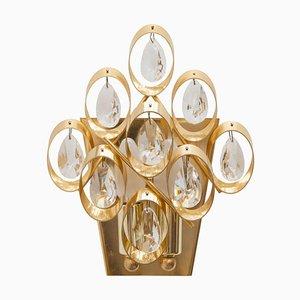 Deutsche Wandlampe aus Kristall & Messing von Palwa, 1960er, 2er Set