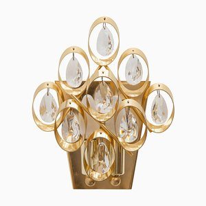 German Crystal and Brass Wall Sconce from Palwa, 1960s, Set of 2