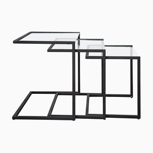 Black Metal Nesting Tables, 1960s
