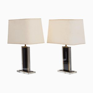French Black and Clear Lucite & Brass Table Lamps, 1970s, Set of 2